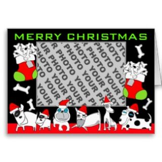 Add Photo Merry Christmas Card Puppy Family card