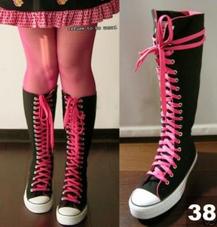 Punk Rock KNEE HI CANVAS SNEAKER Black+Hot Pink BOOTS
