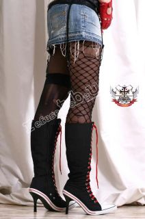 Sexy Punk High Heel Stiletto Lace Up Knee Sneaker Boots