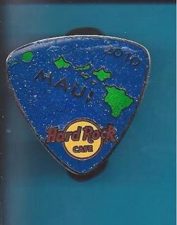 Hard Rock Cafe Pin Maui # 56209 Large Blue Glitter Island Guitar Pick