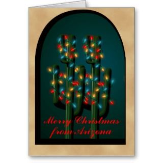 Arizona Adobe Christmas Cactus Tree Lights Card