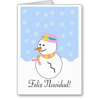 Snowman Feliz Navidad Spanish Christmas Card