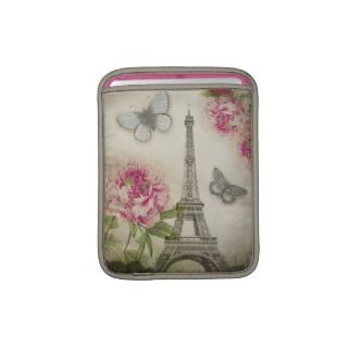 Vintage Paris Eiffel Tower Peonies iPad sleeve
