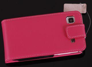 Galaxy S plus Pink Echtes Handy Leder Tasche Hülle Etui Schutz 357