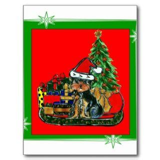 Christmas Yorkie Poo Post Cards