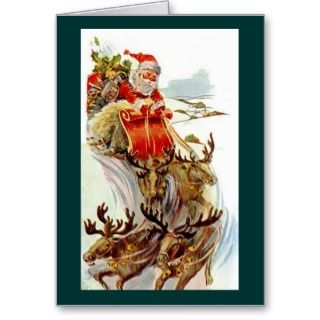 Vintage Christmas Santa and Reindeer Sleigh Card