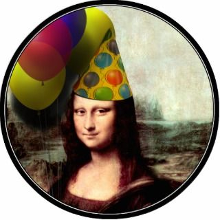 Mona Lisa Wearing Party Hat Cut Out