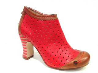GOLD BUTTON Schuhe Stiefelette Sommerstiefelette Leder rot red leather