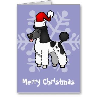Christmas Poodle (black parti puppy cut) cards by SugarVsSpice