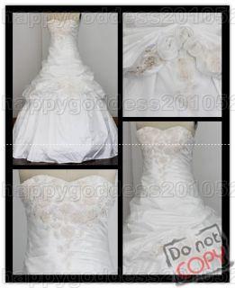 white/ivory lace up back train wedding dress in stock SZ6.8.10.12.14