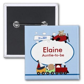 PLANE & TRAIN Baby Shower Name Tag Button