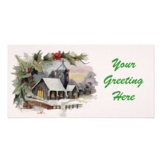 Watercolor Christmas Church scene Photo Card Template