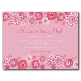 Pretty in Pink Floral 1st Birthday Party Postcard