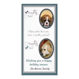 Two dog Christmas Card template Photo Greeting Card