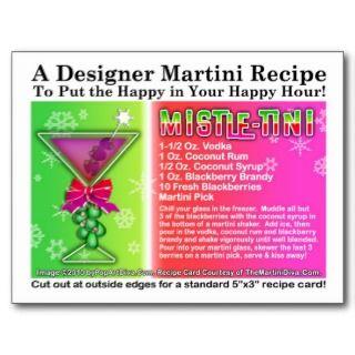 Mistle Tini Christmas Martini Recipe Postcard
