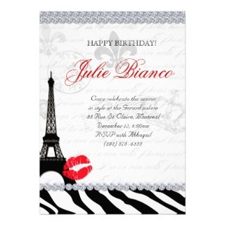 Sweet 16 Paris Invite Eiffel Tower Vintage Pink Br