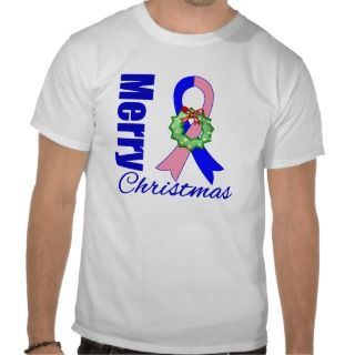 Male Breast Cancer Merry Christmas Ribbon Tshirts