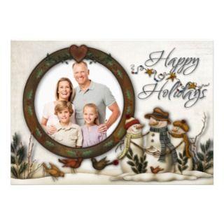 Whimsical Folk Ar Snowmen Chrismas Phoo Card