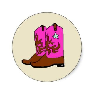 Pink Cowgirl Boots Stickers