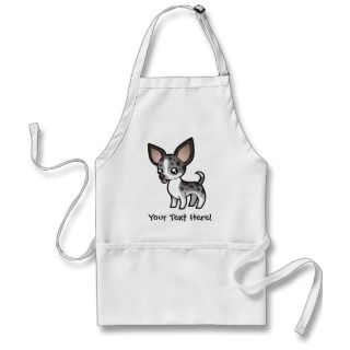 Cartoon Chihuahua (merle smooth coat) aprons by SugarVsSpice