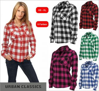 Urban Classics Ladies Checked Flanell Shirt Damen Karo Hemd