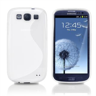 Line Wave Gel Case Cover For Samsung I9300 Galaxy S3 III + Screen