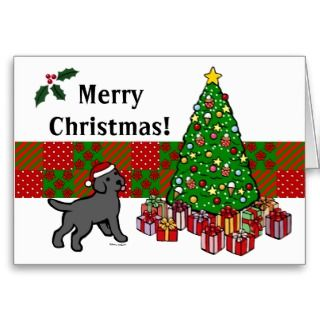Black Lab Puppy and Christmas Tree Greeting Cards