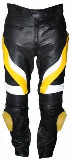 Motorradhose Motorrad Biker Racing Lederhose Rindsleder Gelb/Schwarz