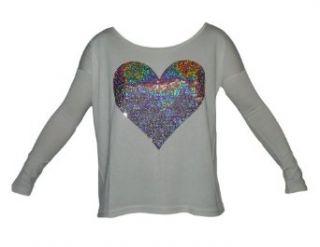 Shirt mit Herz Motiv aus Pailletten 343 creme Bekleidung