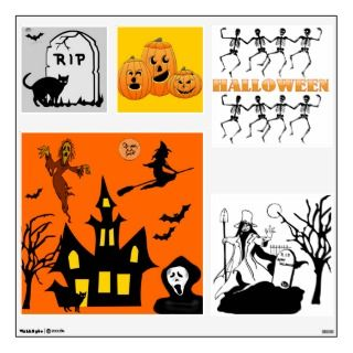 Halloween Party Scene Witch Ghost Wall Decals