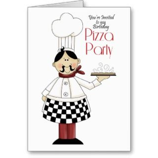 Pizza Birthday Party Cards