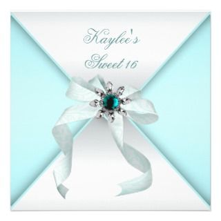 White Teal Blue Sweet 16 Party invitations by InvitationCentral