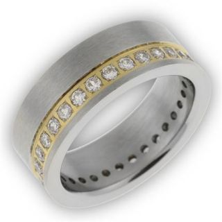 Damen Edelstahl Ring/silber/gold mit Zirkonia/weiß fein mattiert