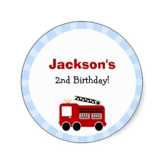 Blue Stripes Fire Truck Birthday Party Invitations