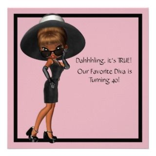 Diva Womans Black 40th Birthday Party invitations by InvitationCentral
