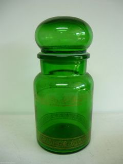 Vintage EMERALD GREEN GLASS JAR CANISTER BELGIUM APOTHECARY CANDY