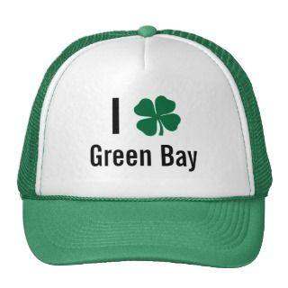 love (shamrock) Green Bay St Patricks Day Mesh Hats