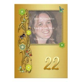 Golden Garden 22nd Birthday party invitation