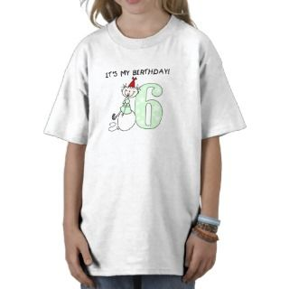 Stick Girl 6th Birthday Shirt