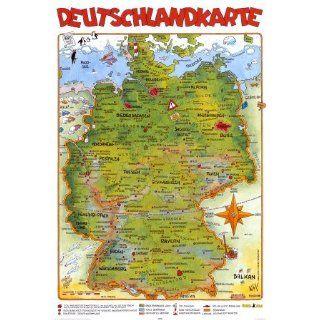 Cartoon Deutschlandkarte Oben Poster Print, 61x92 Küche