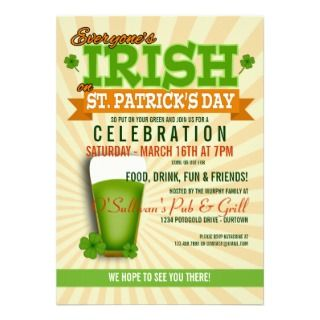 St. Patricks Day Celebration Party Invitations