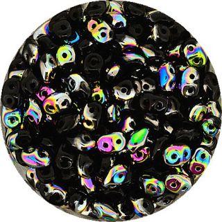 Super Duo Twin Beads 2 Loch Perle Glasperle schwarz irisierend 2,5 x 5
