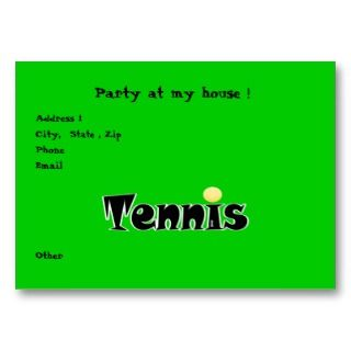 Tennis Party Business Card Template