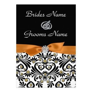 Damask with Burnt Orange Wedding Invitation