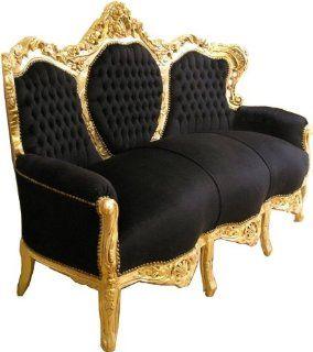 Prunkvolles Barock Sofa Schwarz/Gold   Unikat Sofa   Möbel Barock