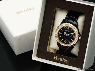 HENLEY Glamour Damenuhr,trend Keramik Optik Uhr in Schwarz/Gold mit