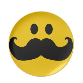 Mustache Smiley Party Plate