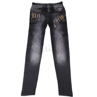 Jeans Stretch Treggings Leggings Jeggings Damen Sexy dunkelgrau