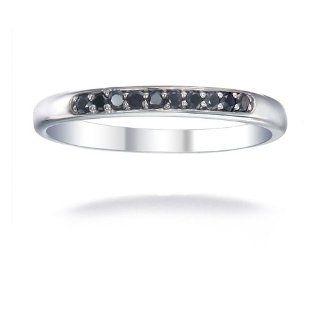 Damen Ringe 14 Karat (585) Weißgold Schwarz Diamant 0.1 Karat Größe