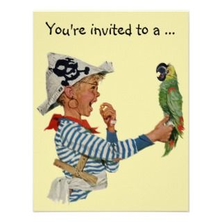 Vintage Child, Boy Pirate Parrot, Baby Shower Custom Invitations